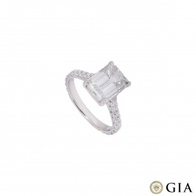 Platinum Emerald Cut Diamond Ring 3.02ct I/VVS1